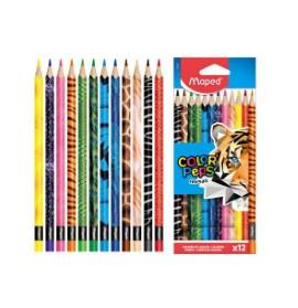 LÁPICES DE COLORES MAPED ANIMALS X 12